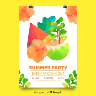 Cartaz de festa de verão desenhada de mão