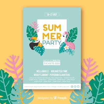 Cartaz de festa de verão desenhada pássaros mão