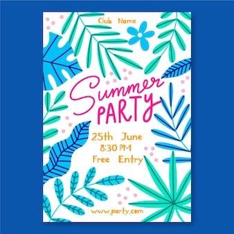 Cartaz de festa de verão desenhado