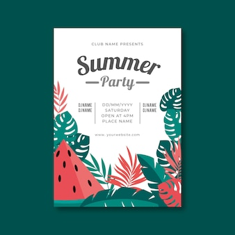 Cartaz de festa de verão design plano com ilustrações tropicais