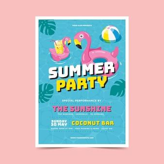 Cartaz de festa de verão em design plano