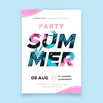 Cartaz de festa de verão letras