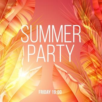 Cartaz de festa de verão natural exótico brilhante