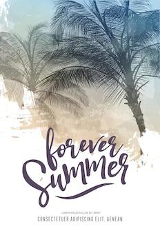 Cartaz de festa de verão ou modelo de design de folheto com silhuetas de palmeiras. estilo moderno