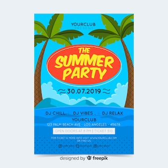 Cartaz de festa de verão ou modelo de folheto pronto para imprimir
