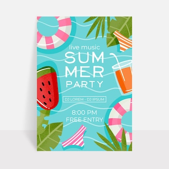 Cartaz de festa de verão plana