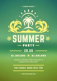 Cartaz de festa de verão retrô