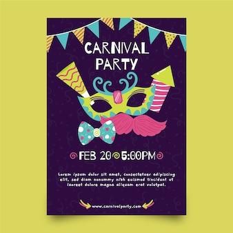 Cartaz de festa desenhada de mão para o carnaval