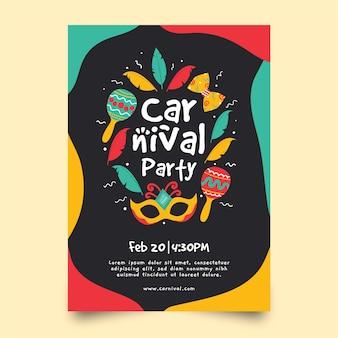 Cartaz de festa desenhada de mão para o modelo de carnaval