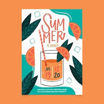 Cartaz de festa desenhada verão colorido de mão
