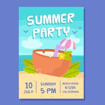 Cartaz de festa desenhada verão mão