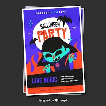 Cartaz de festa do dia das bruxas adulto jovem drácula