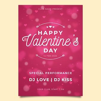 Cartaz de festa do dia dos namorados turva