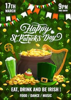 Cartaz de festa do feriado de primavera do dia de saint patricks