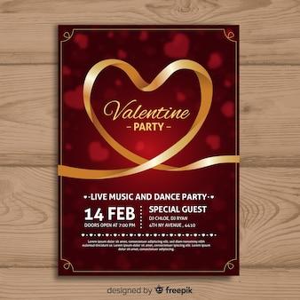 Cartaz de festa dos namorados de fita dourada