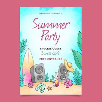 Cartaz de festa em aquarela de verão