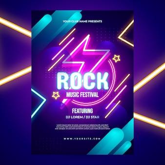 Cartaz de festa em néon colorido brilhante