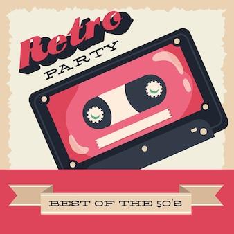 Cartaz de festa estilo retro com cassete e desenho de ilustração vetorial de moldura de fita