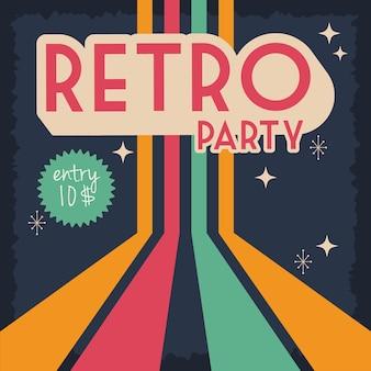 Cartaz de festa estilo retro com design de ilustração vetorial de selo de preço de entrada