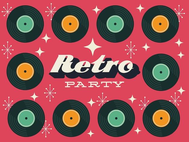 Cartaz de festa estilo retro com quadro de discos de vinil design de ilustração vetorial