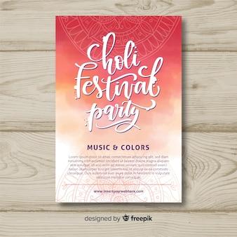 Cartaz de festa festival de holi de letras