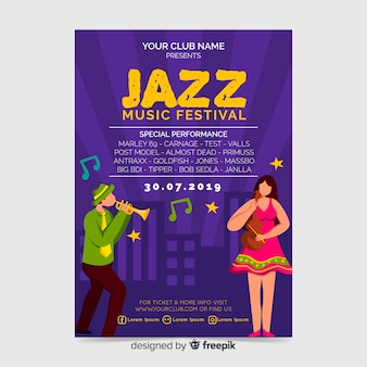 Cartaz de festa festival de música de jazz ou modelo de folheto