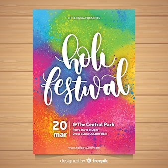 Cartaz de festa festival holi colorido