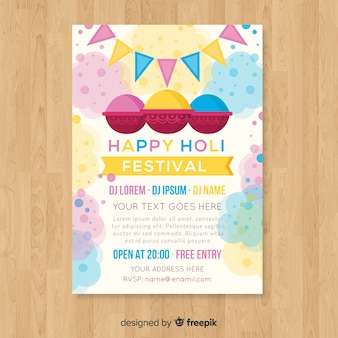Cartaz de festa festival holi de cor pastel