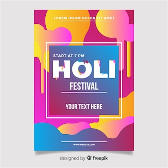 Cartaz de festa festival holi de gradiente