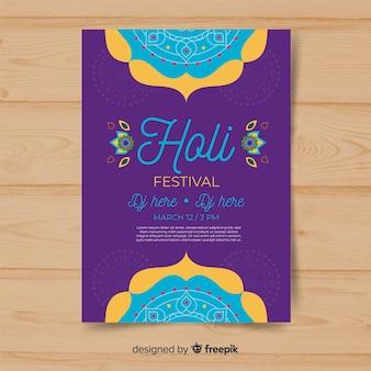 Cartaz de festa festival holi de mandala