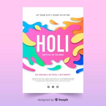 Cartaz de festa festival holi de pontos