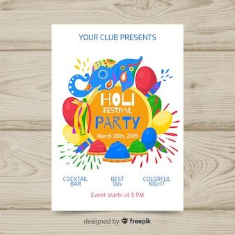 Cartaz de festa festival holi elefante