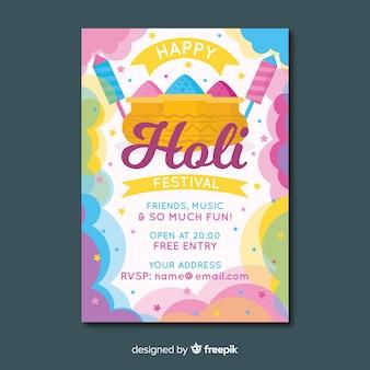 Cartaz de festa festival holi nuvem de poeira