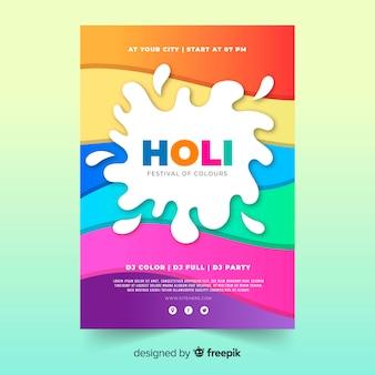 Cartaz de festa festival holi ondas coloridas