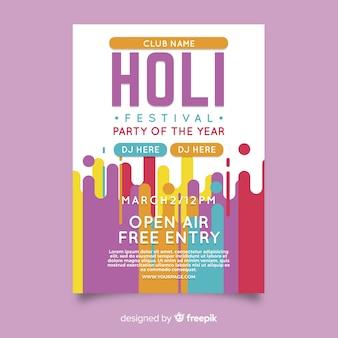 Cartaz de festa festival holi plana