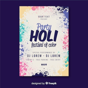Cartaz de festa festival holi pontos realistas