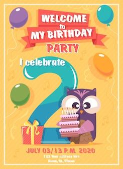 Cartaz de festa infantil com coruja, balões e bolo