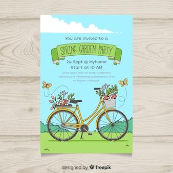 Cartaz de festa jardim bicicleta mão desenhada