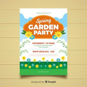 Cartaz de festa jardim primavera plana