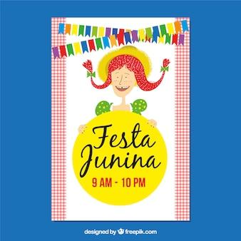 Cartaz de festa junina com garota feliz