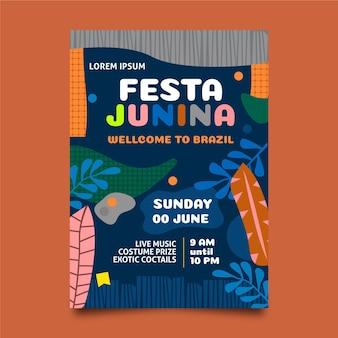 Cartaz de festa junina de design plano