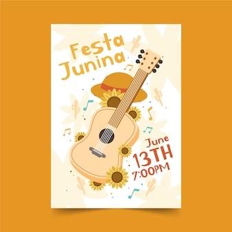 Cartaz de festa junina desenhado à mão com guitarra