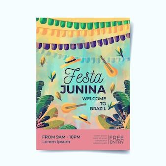 Cartaz de festa junina em aquarela
