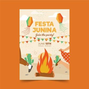 Cartaz de festa junina mão desenhada com fogueira