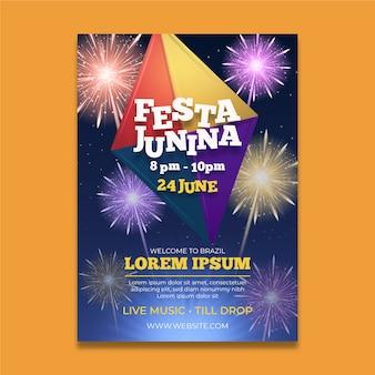Cartaz de festa junina realista com fogos de artifício