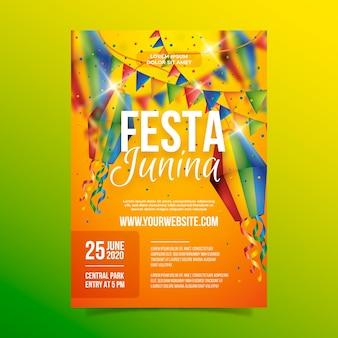 Cartaz de festa junina realista com guirlandas