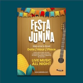 Cartaz de festa junina realista com guitarra
