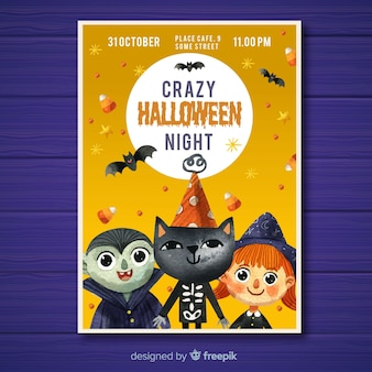 Cartaz de festa linda halloween aquarela