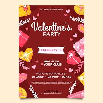 Cartaz de festa mão desenhada dia dos namorados