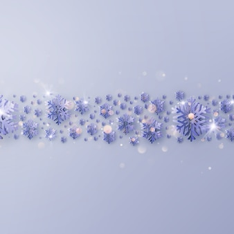 Cartaz de festa modelo de convite de feliz natal. fronteira feita de flocos de neve de folha de ouro de recorte.